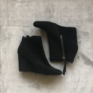 Shoes - NEW Black Suede Wedge Booties